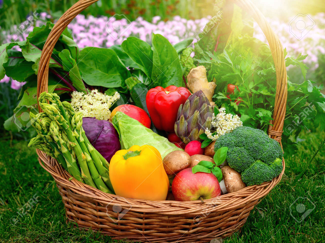 Colorful and appetizing vegetables and fruits in a nice old-fashioned basket in the garden - 148396554