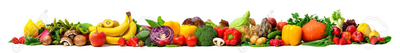 Arrangement of fruits and vegetables in many appetizing colors in a row, concept for a healthy plant-based lifestyle and fitness, super wide format ideal as a border, frame or banner - 148964166