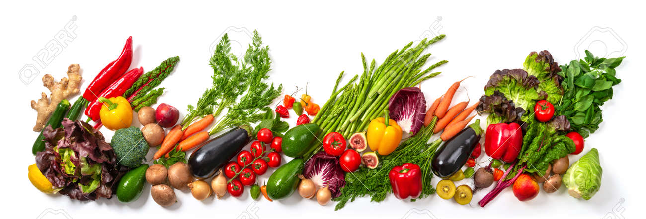 Arrangement of fruits and vegetables in many appetizing colors in a row, concept for a healthy plant-based lifestyle and fitness, wide format - 149775558
