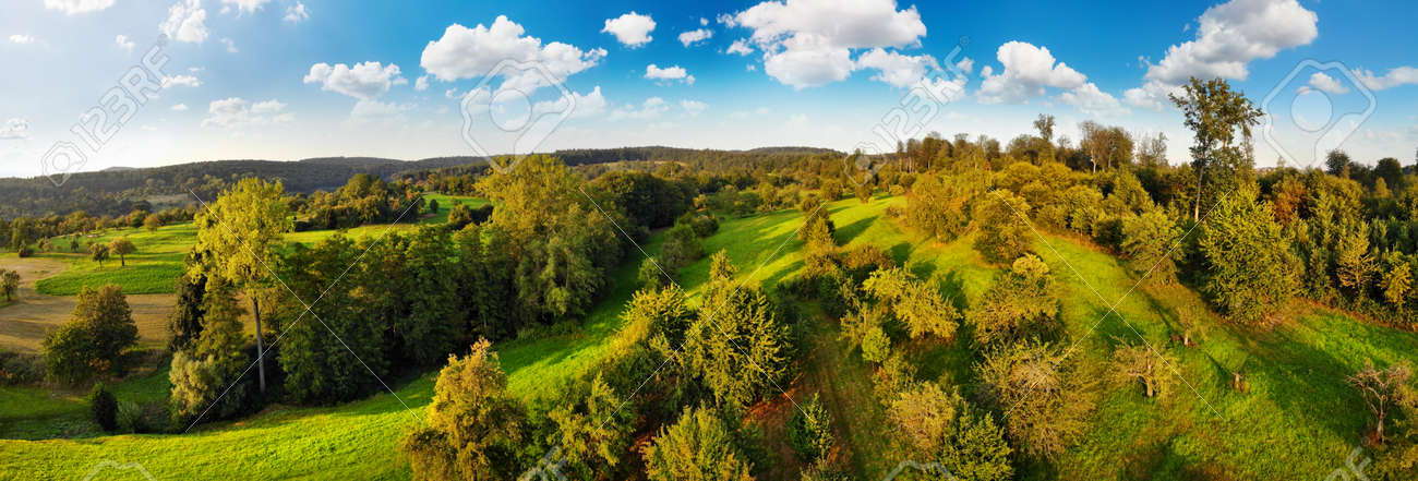 Aerial panorama of beautiful rural landscape, a mix of green meadows and groups of trees on hills, with blue sky and fluffy white clouds - 150001714