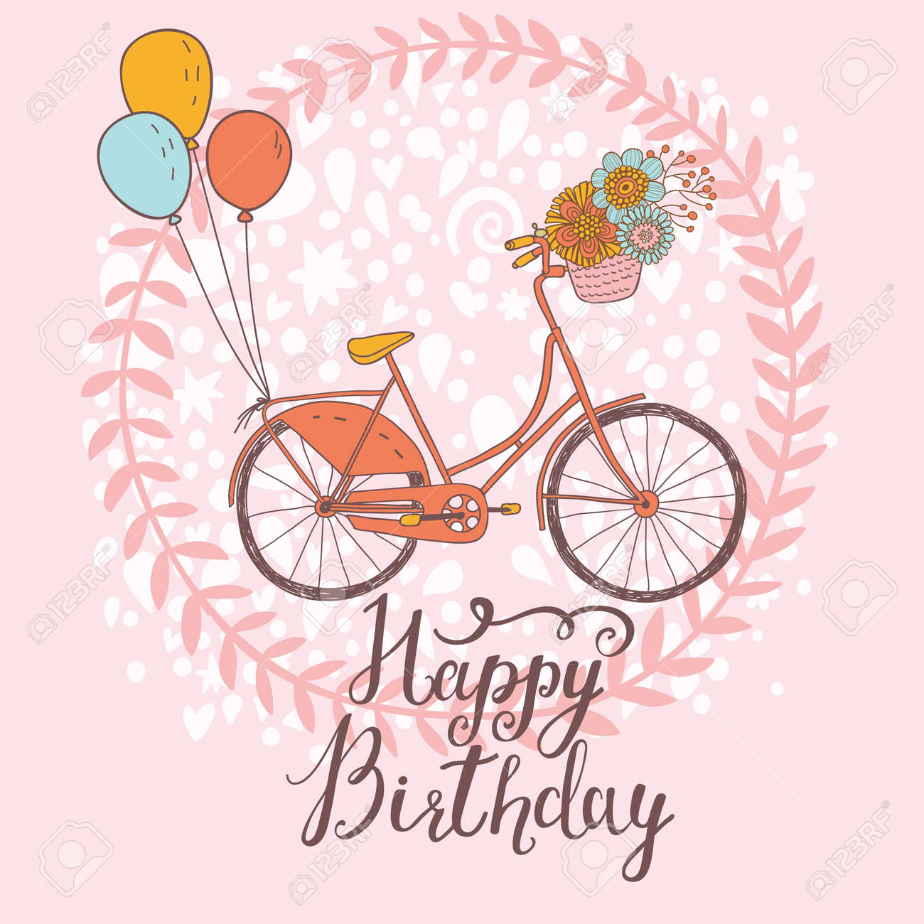 Happy Birthday Card In Bright Colors With Bicycle Floral Wreath