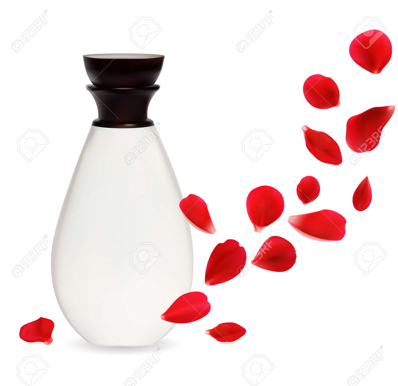 Cosmetics container isolated over white background with rose petals. Natural cosmetics concept. Stock Vector - 12497415