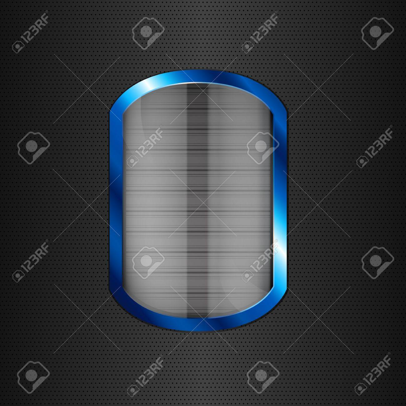 Glass button in blue frame on black texture Stock Vector - 12810979