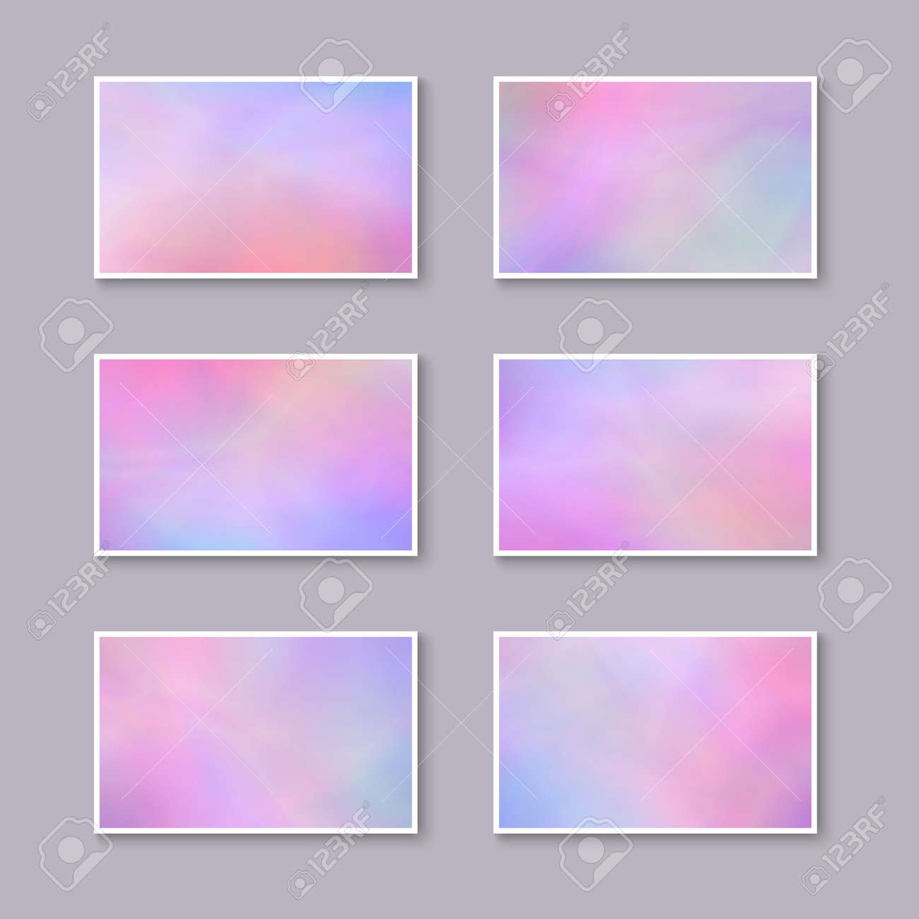 Set Of Pastel Pink And Purple Business Cards. Templates For Gift ...
