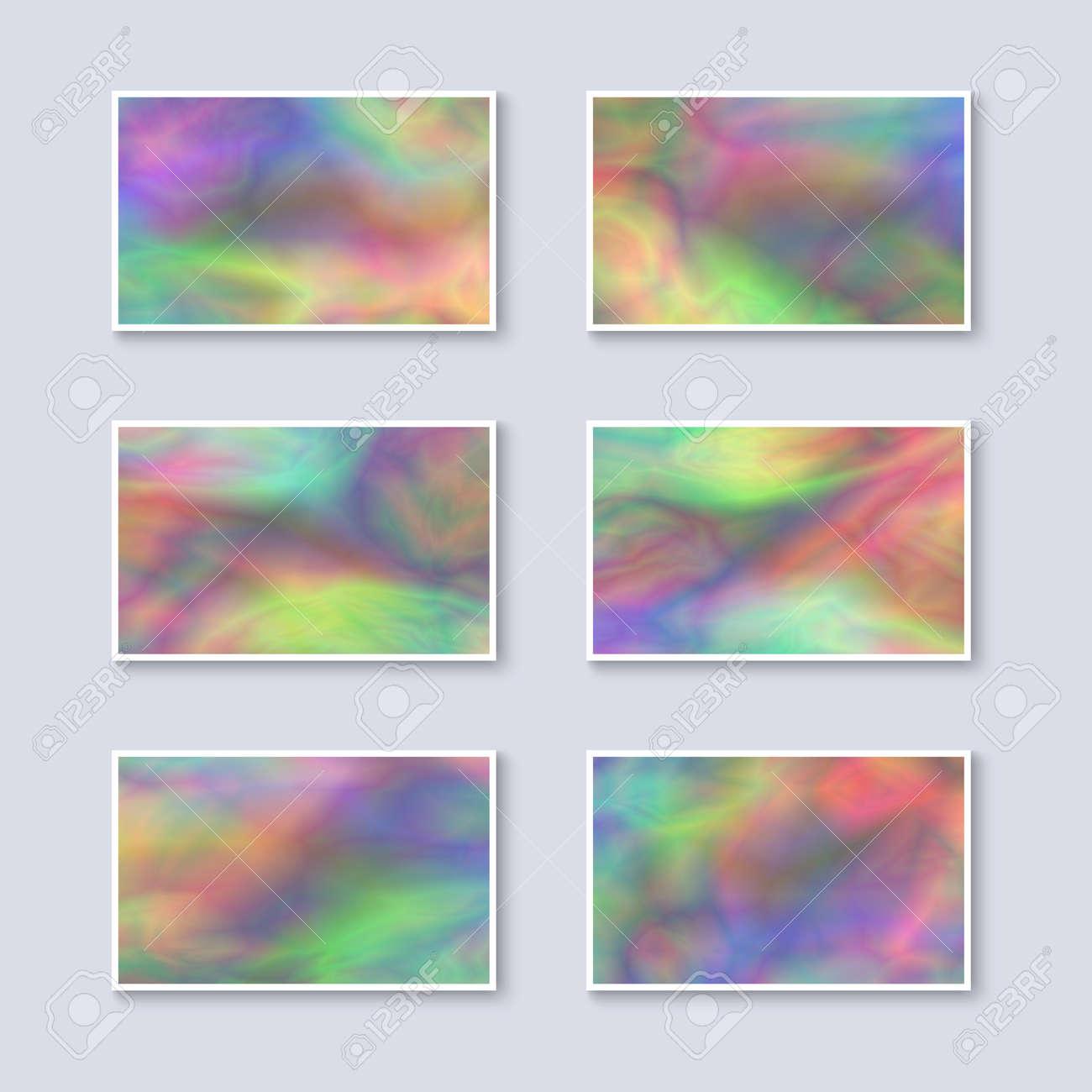 Set Von Mehrfarbigen Regenbogen-Visitenkarten. Vorlagen Für ...