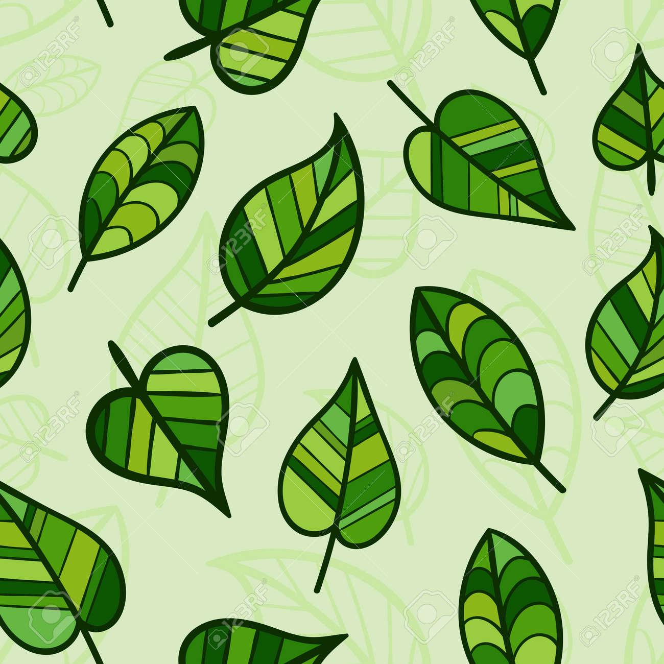 Patrón De Primavera Sin Costuras Con Hojas De Color Verde Brillante ...