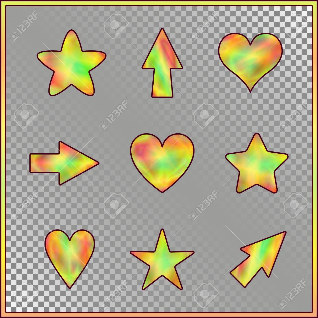 Conjunto De Estrellas Corazones Flechas Con Efecto Holográfico