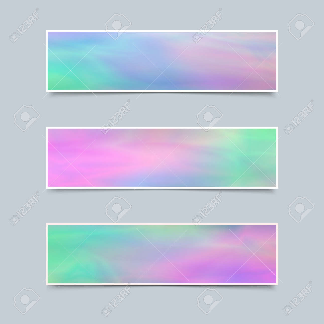 Set Of Delicate Banners With Holographic Effect For Business ...