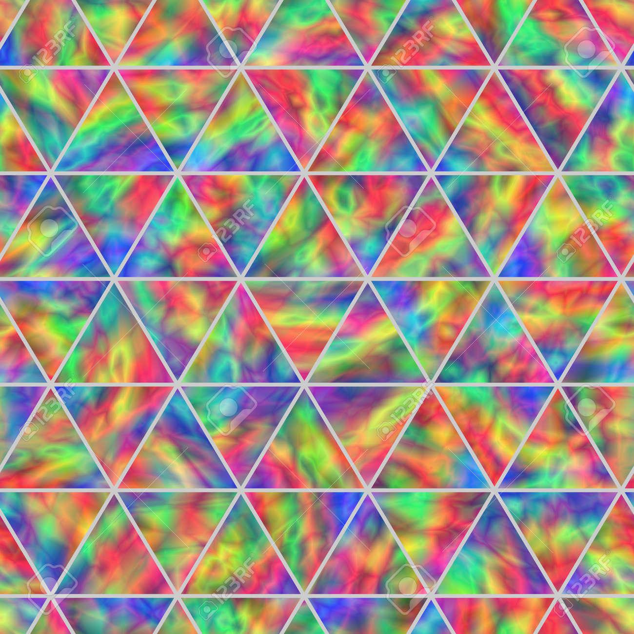 虹色に輝く三角形の創造的なシームレス パターン現実的なホログラム