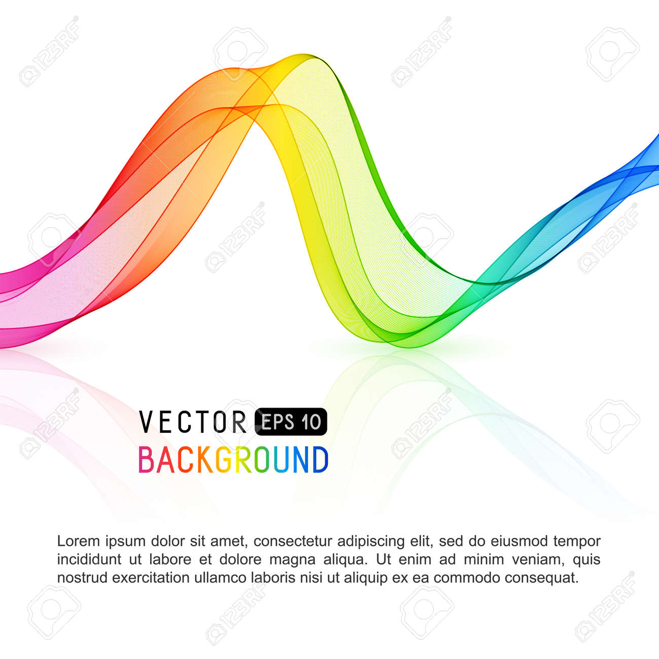 Template With Gradient Rainbow Wave Line For Your Text, Information ...