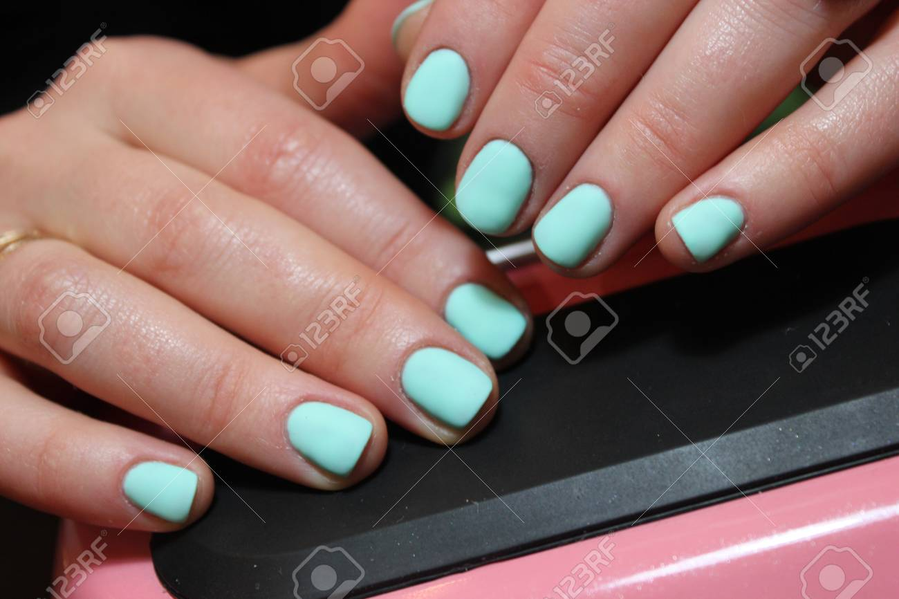 Manicure, Mint Color Design Nails Stock Photo, Picture And Royalty ...