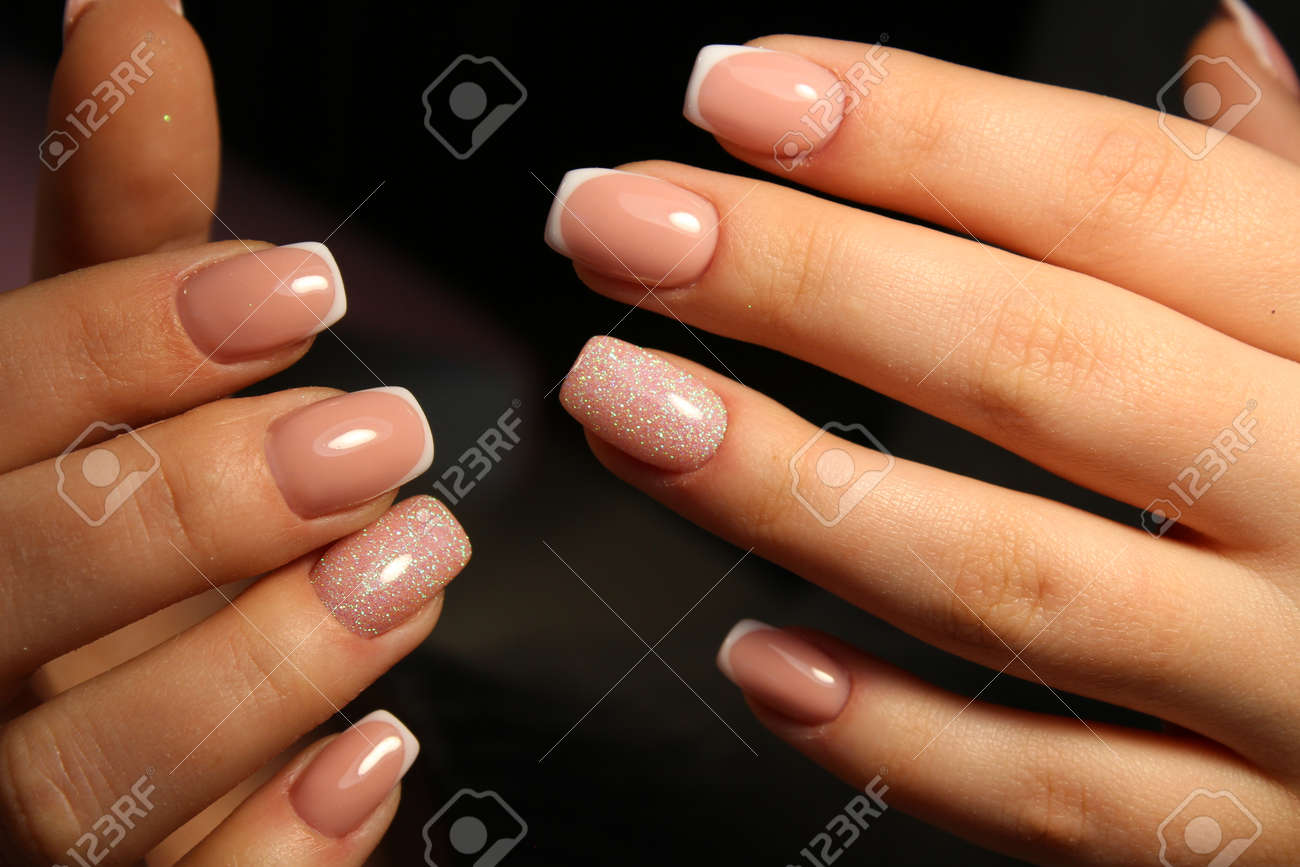 Beautiful Gentle French Manicure Nails Stock Photo, Picture And ...