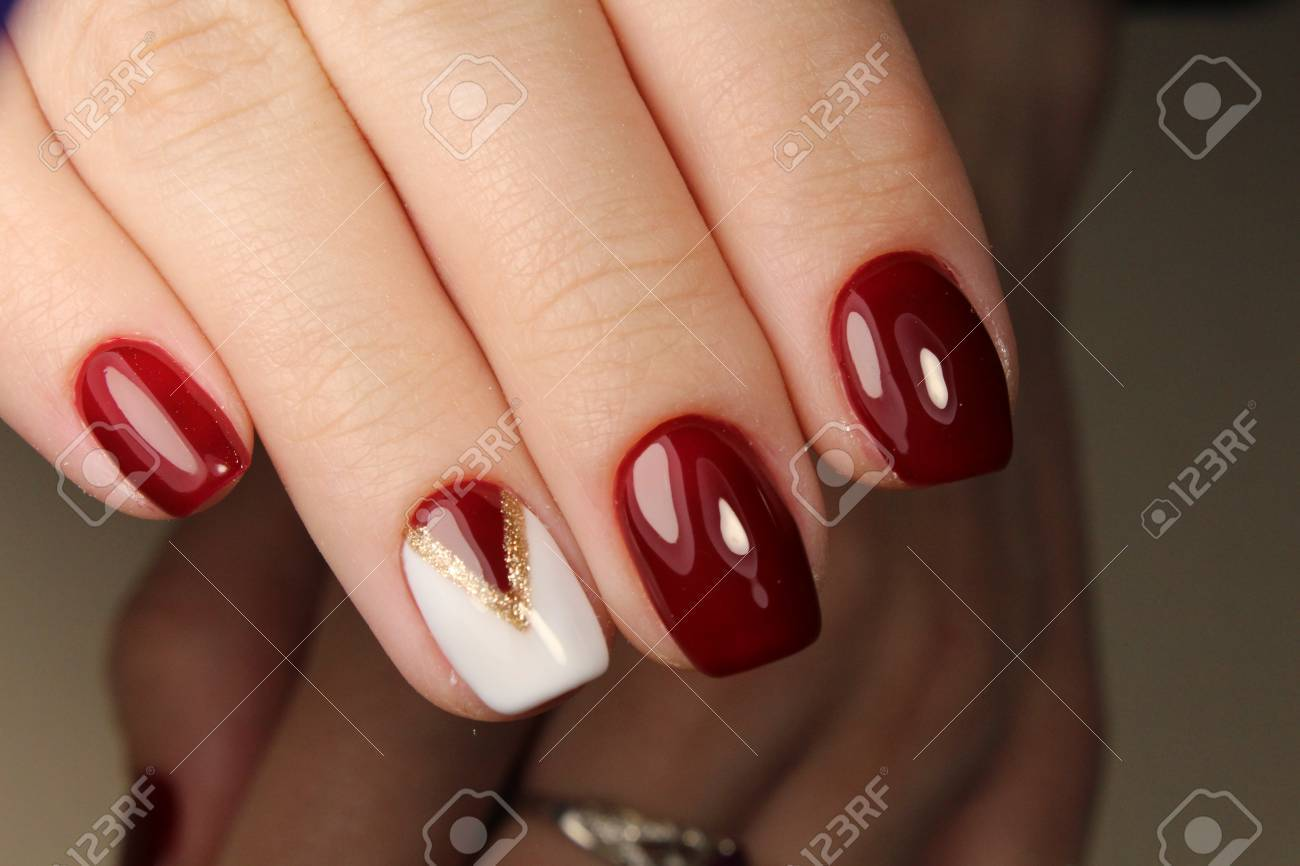 Manicure Design Nails Red And White Geometry Stock Photo, Picture ...