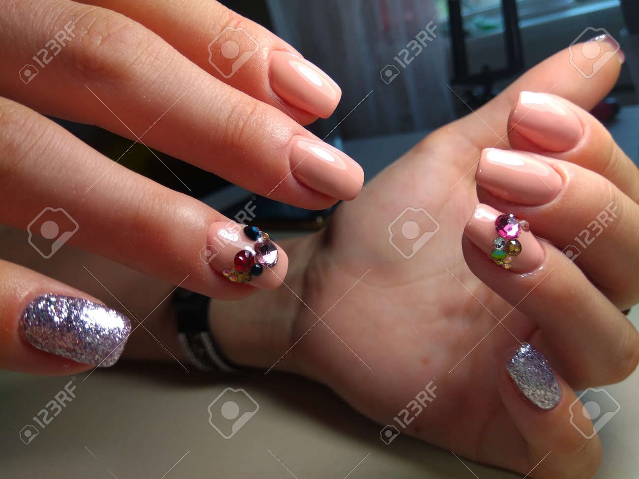Gentle Manicure Nail Design Gel With Lacquer Stock Photo, Picture ...