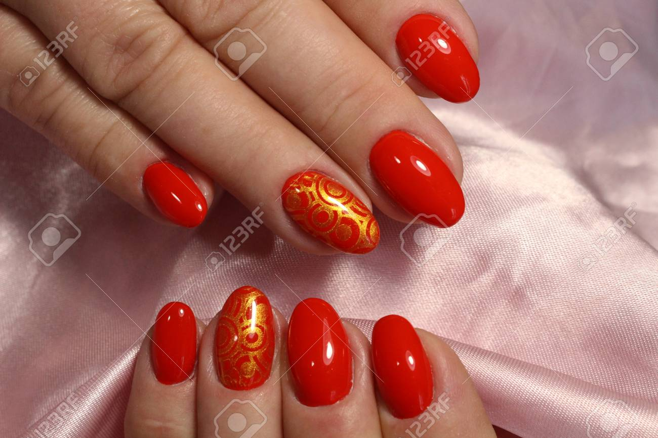 Gentle Manicure Nail Design Gel With Lacquer Royalty Vrije Foto