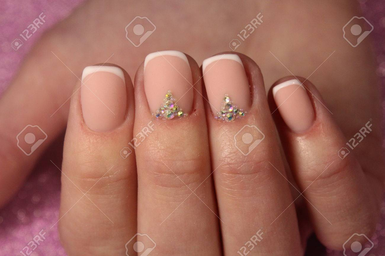 Youth French Manicure Nails With Rhinestones Stock Photo, Picture ...