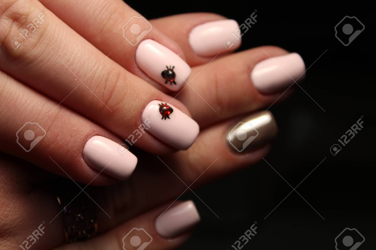 Manicure Nail Design, The Best Work Of A Professional Master Stock ...