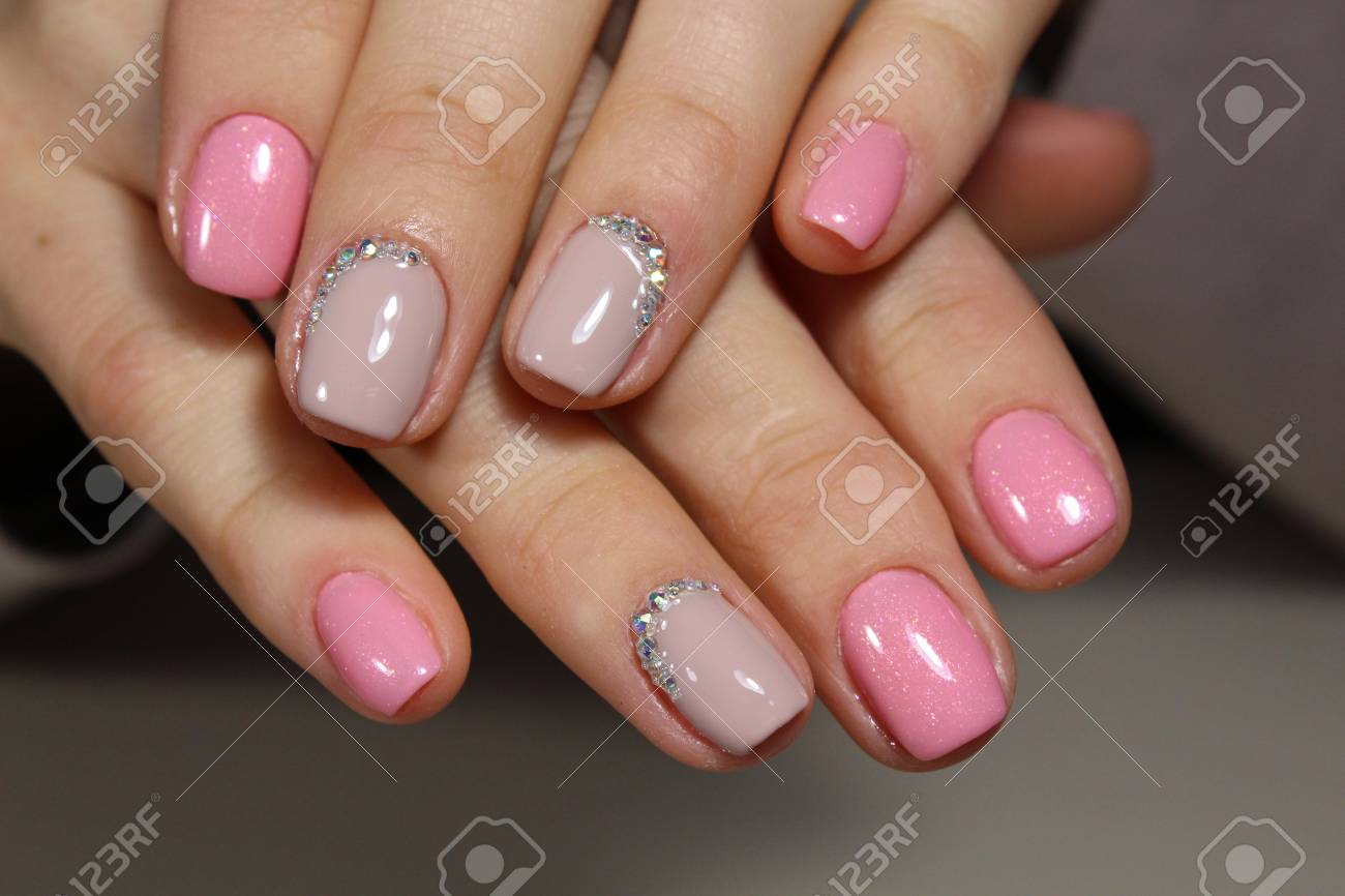 Beautiful Light Pink Nails With Rhinestones, Manicure Design Stock ...
