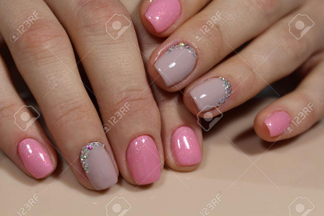 Beautiful Light Pink Nails With Rhinestones, Manicure Design Stock ...