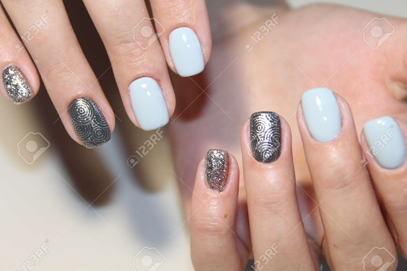 Tender Design Manicure Gel Lacquer For Long Nails Stock Photo ...