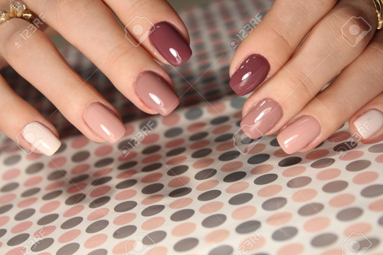 Youth Manicure Design, Color Coffee Nails Stock Photo, Picture And ...