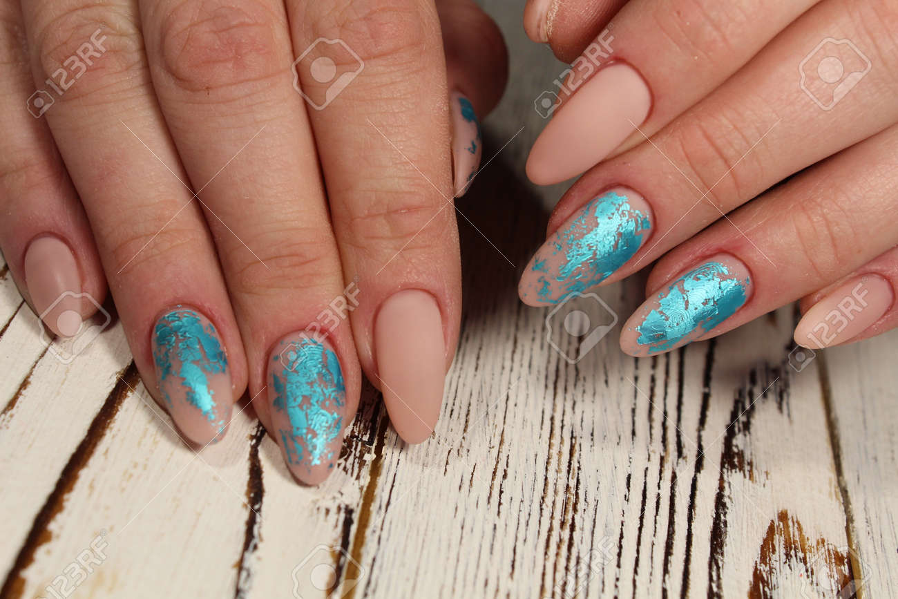 Christmas design manicure with snowflakes at the end of the nails. Stock Photo - 92430840