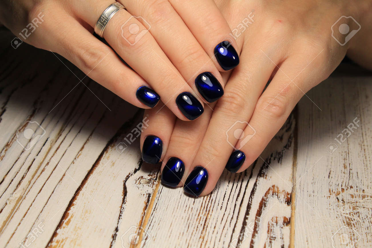 Closeup Of Woman Hands With Nail Design Trendy Crackle Nail Polish