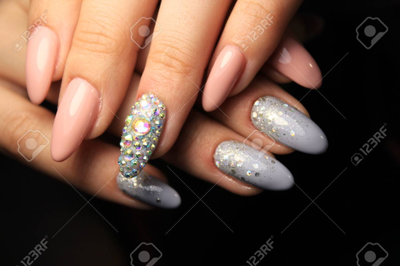 Colorful Christmas nails winter nail designs with glitter,rhinestones,..