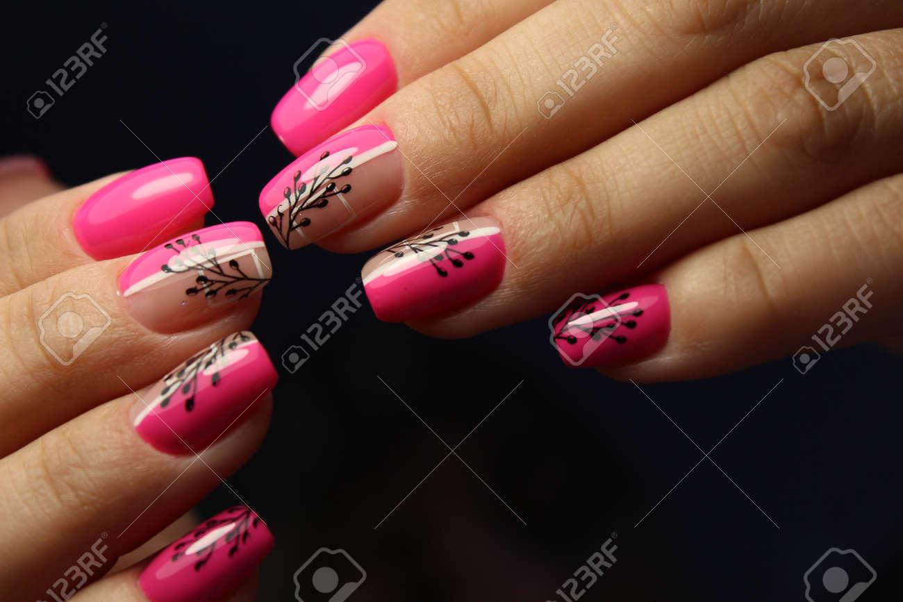 stylish design of manicure on beautiful nails - 153955846