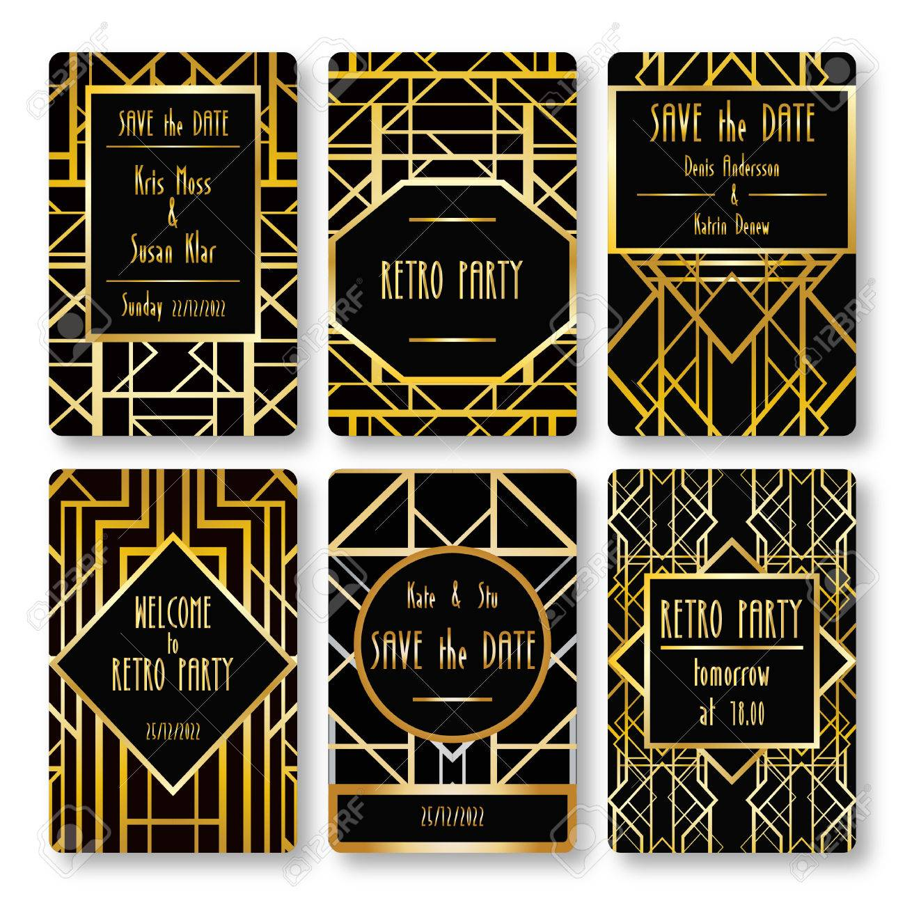 Set Of Vector Card Templates In Art Deco Style Ideal For Save