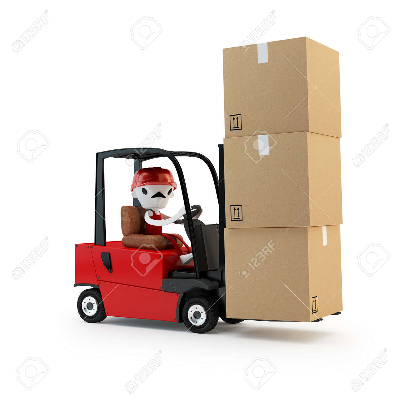 Forklift driver with cargo Stock Photo - 17425163