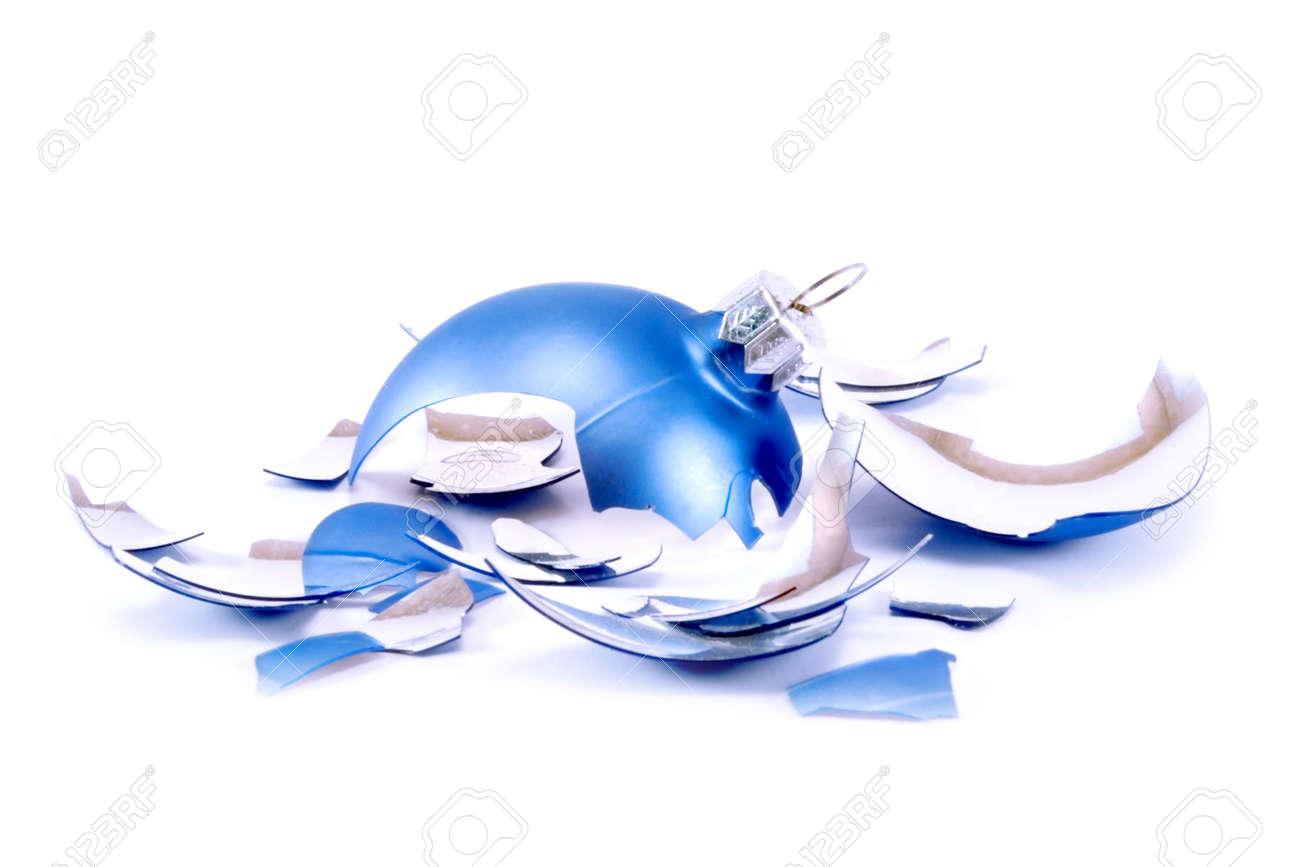 Pieces of broken blue Christmas ball Stock Photo - 2052298
