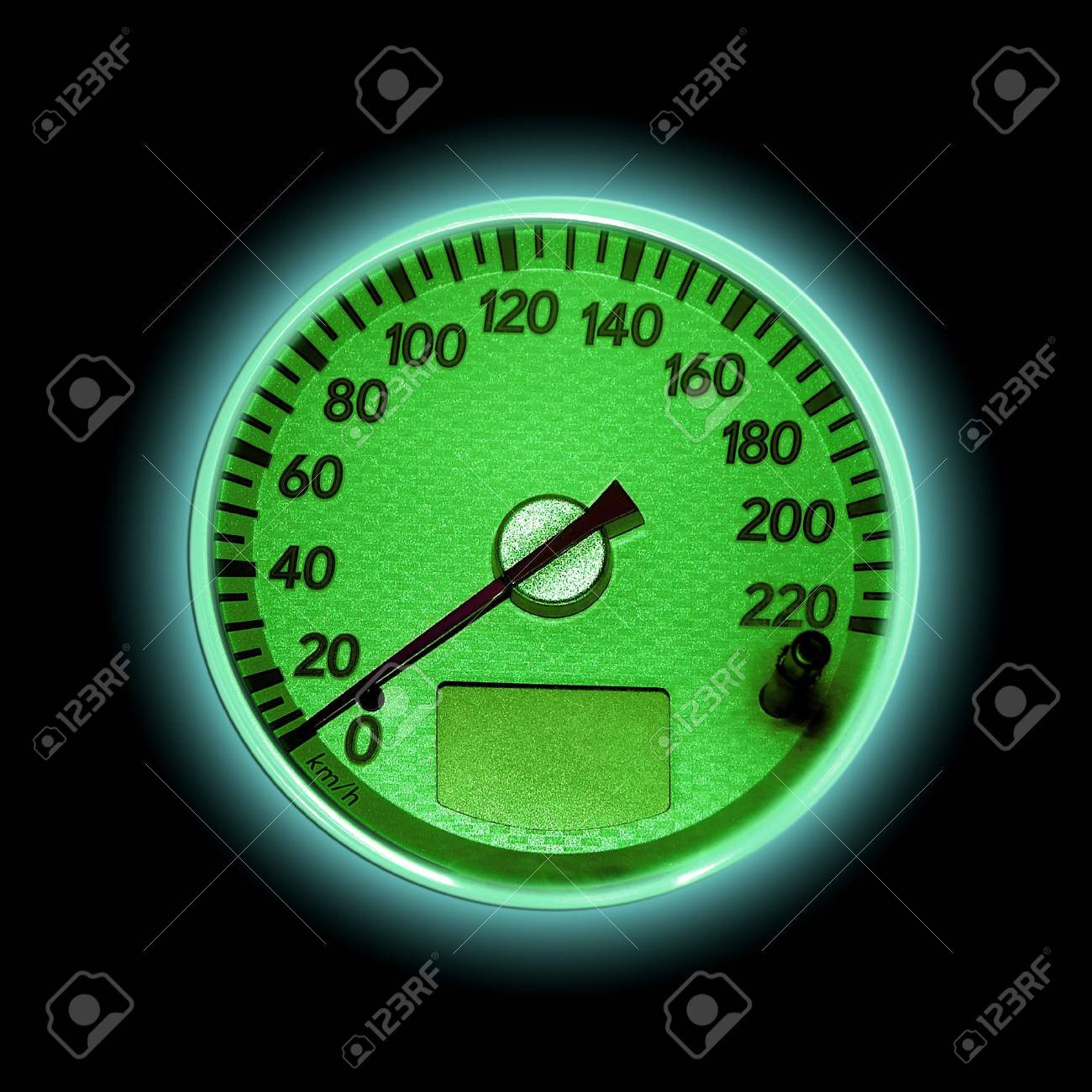 green speedometer isolated on black Stock Photo - 3741596