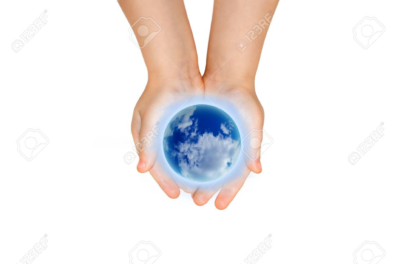 the earth in child hand Stock Photo - 3761176