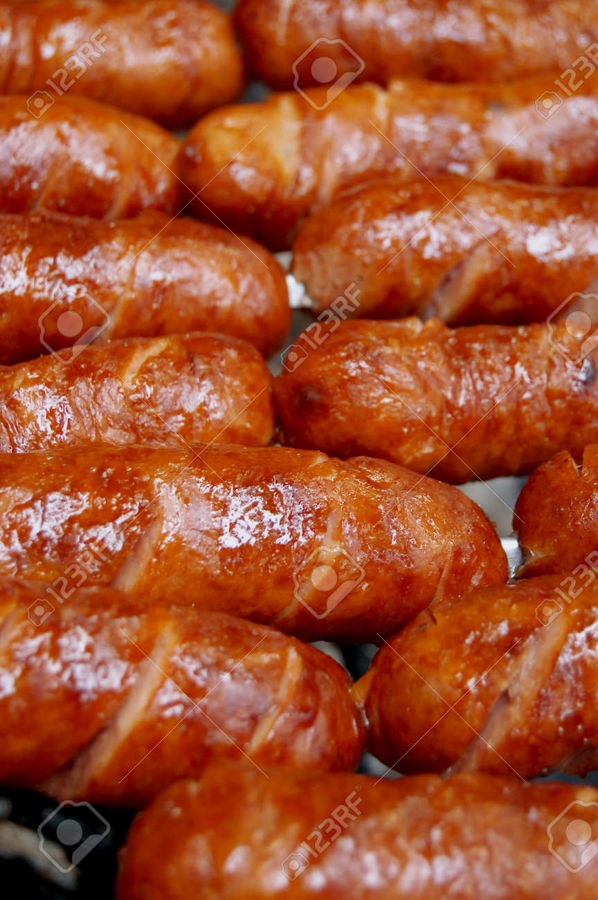 the griledl sausage close up Stock Photo - 3761531