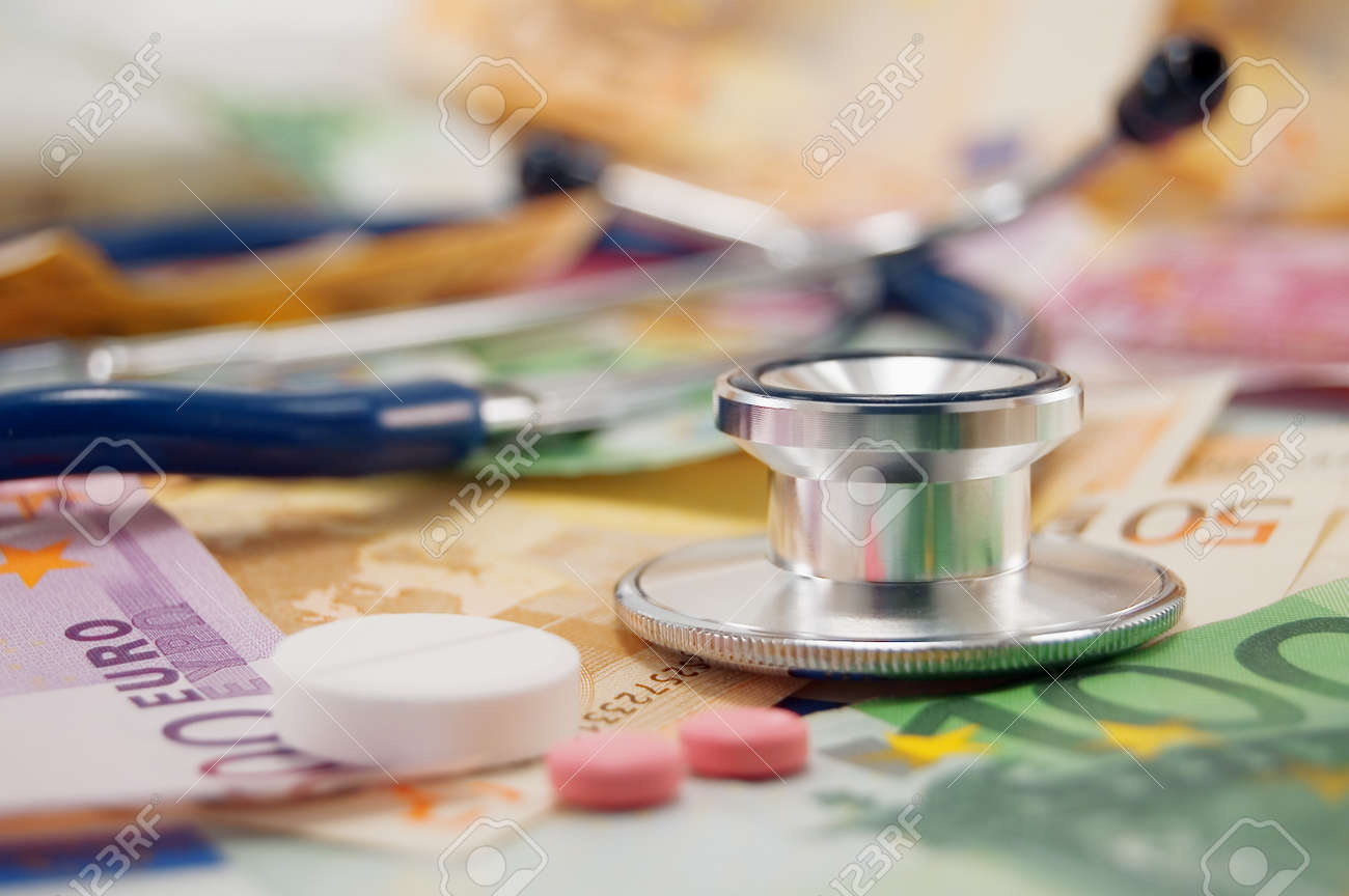 stethoscope and pills on euro note Stock Photo - 3979066