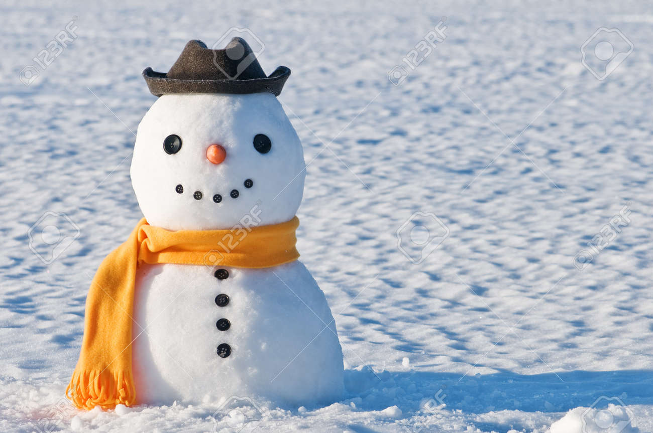 cute snowman on snowy field stock photo picture and royalty free