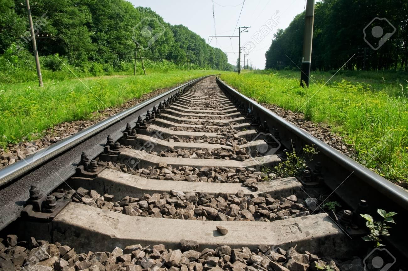 metal railway in summer time Stock Photo - 10870696