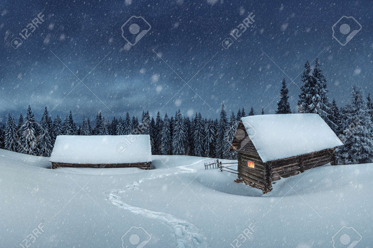 wooden house in winter forest - 23653120