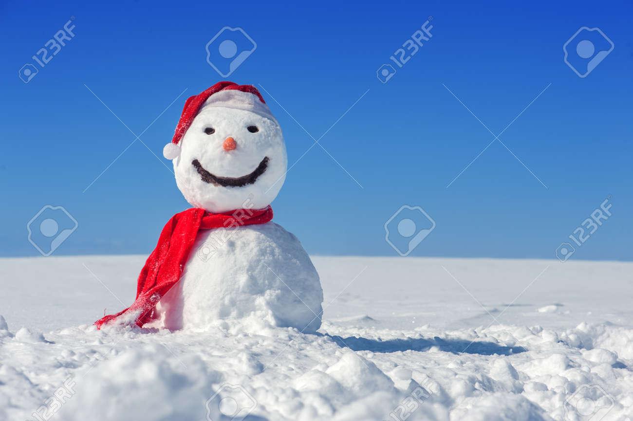 snowman on blue sky background - 23653147
