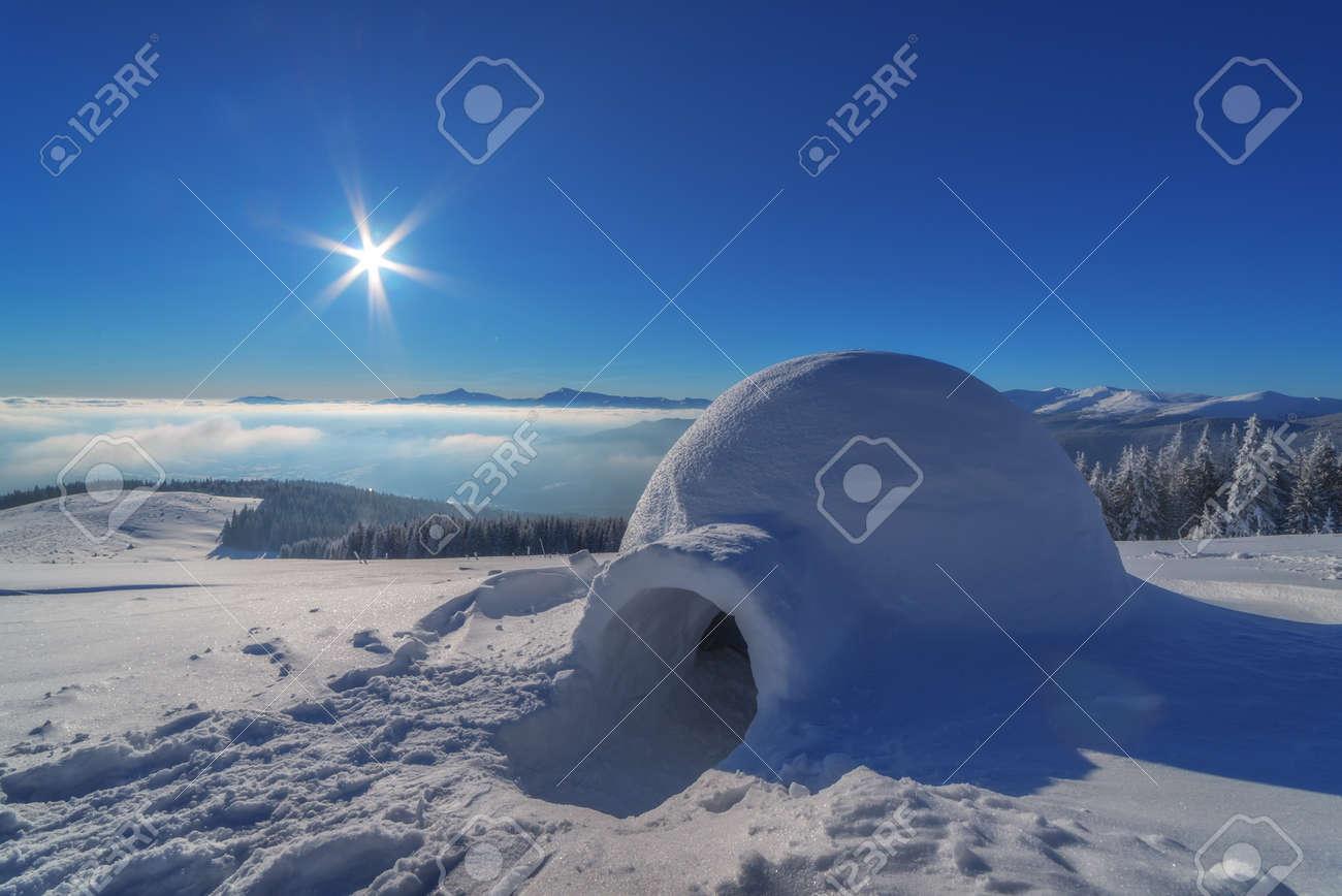 igloo in the high mountain - 37088589
