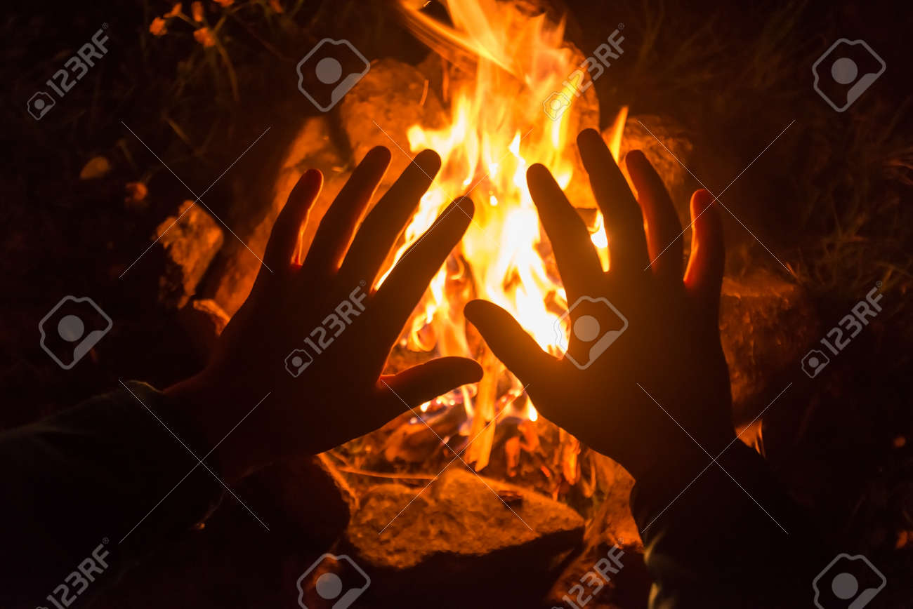 the camping fire on night - 37519251