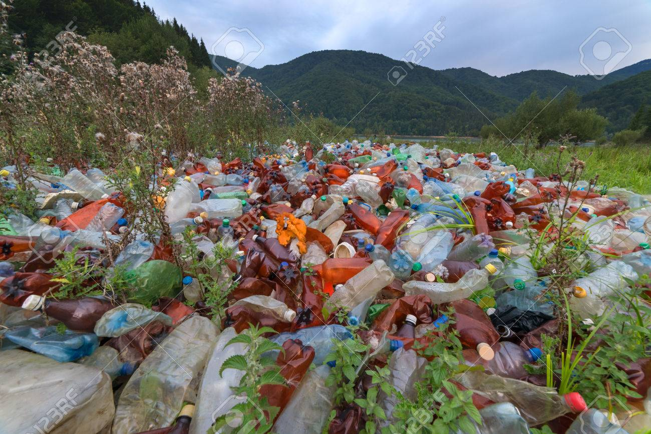 plastic garbage on mountains closeup Standard-Bild - 44979861