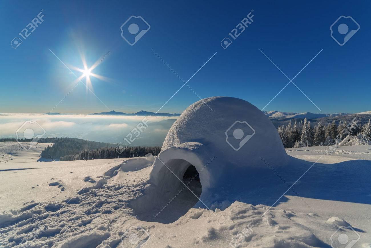 igloo in the high mountain - 46070330