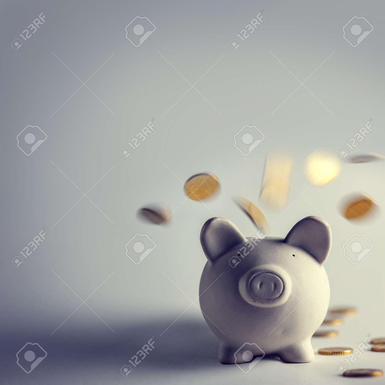 Schwein Geld-Box mit goldenen Münzen Standard-Bild - 48337055