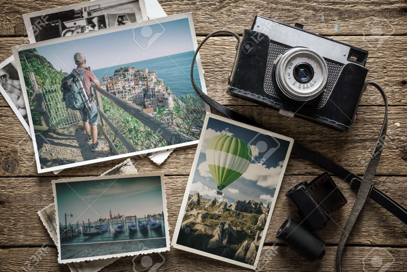 photography concept with old camera and photos Standard-Bild - 71662348