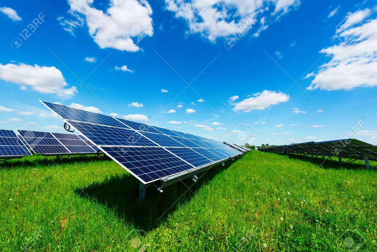 Solar power station against the blue sky. Alternative energy concept - 80031923