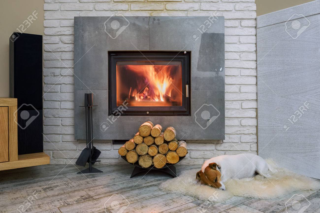 Jack russel terrier sleeping on a white rug near the burning fireplace. Resting dog. Hygge concept - 85288452