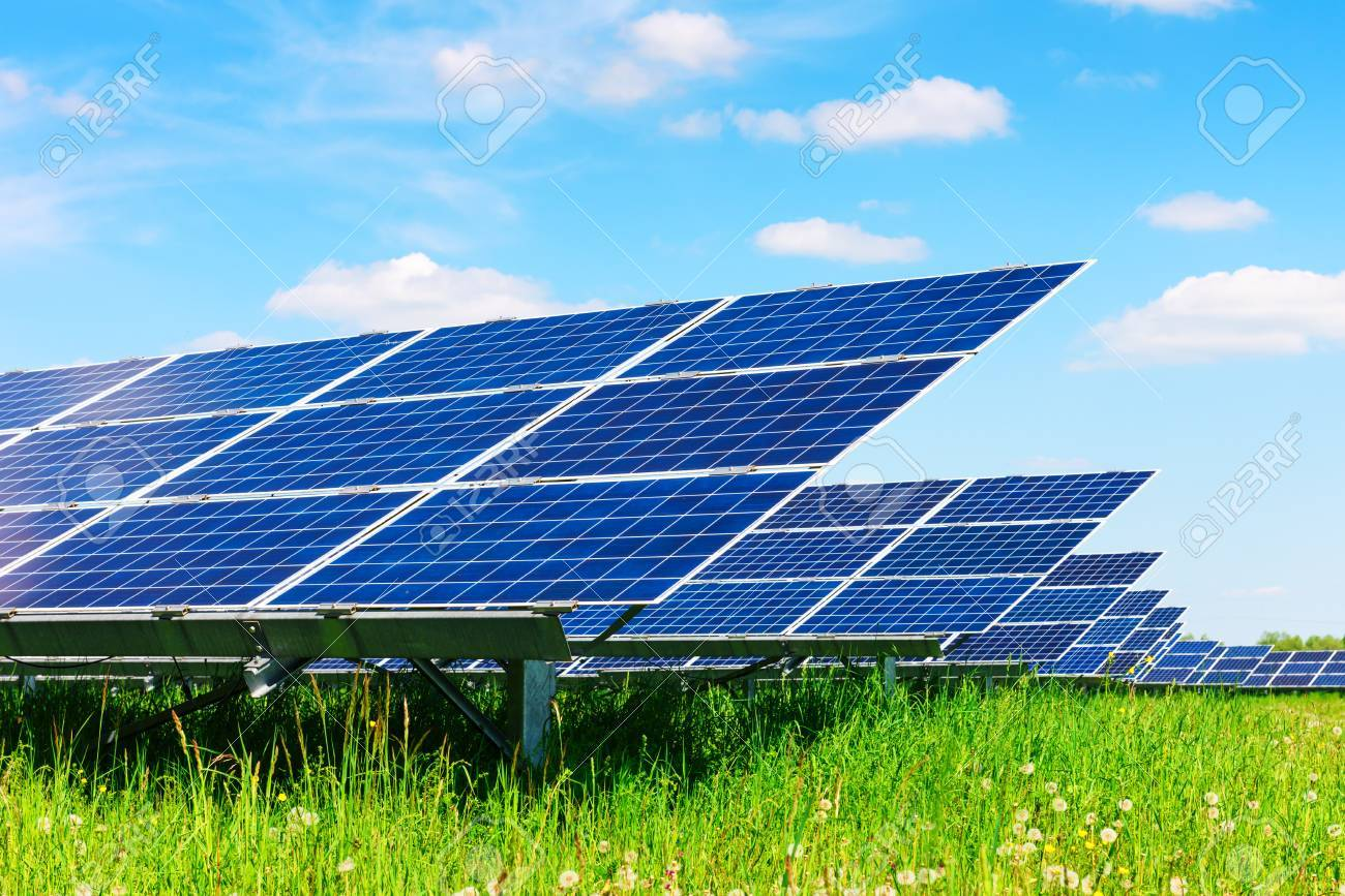 Solar panel on blue sky background - 85332369