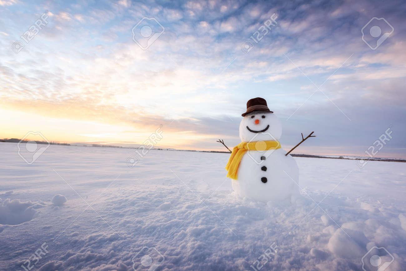 Funny snowman in black hat - 88966901